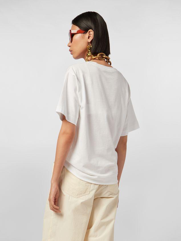 Marni White jersey T-shirt with Avery print Woman