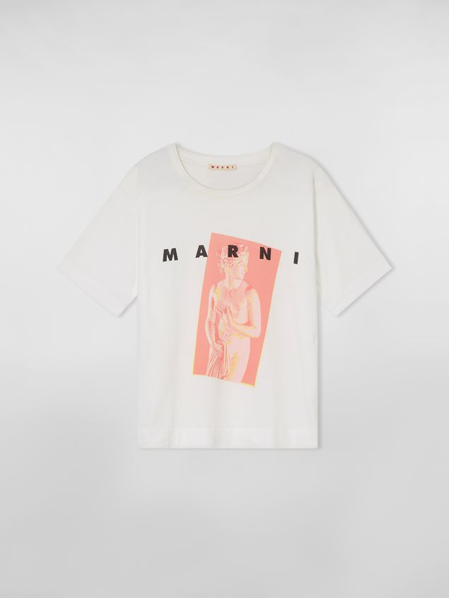 Marni White jersey T-shirt with Avery print Woman - 2
