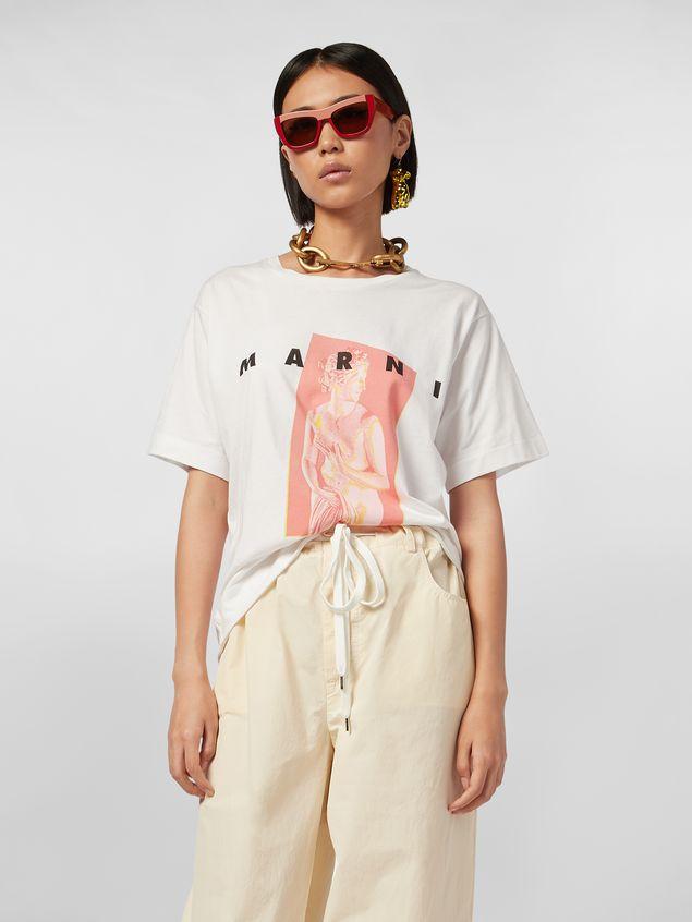 Marni White jersey T-shirt with Avery print Woman - 1