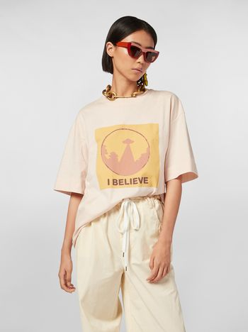 Marni Jersey T-shirt with I Believe print Woman
