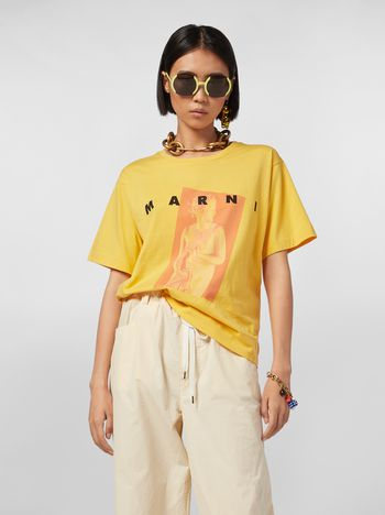 Marni Yellow Jersey T-shirt with Avery print Woman