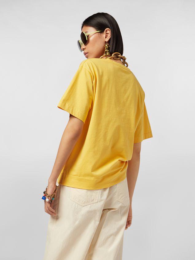 Marni Yellow Jersey T-shirt with Avery print Woman