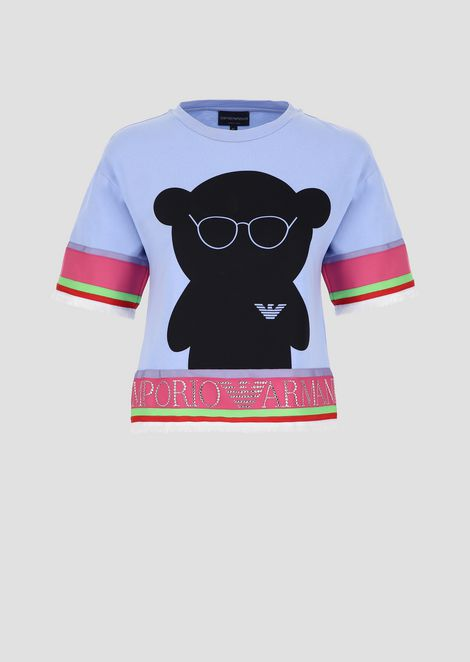 Sweater with Manga Bear print and rhinestone lettering on hem