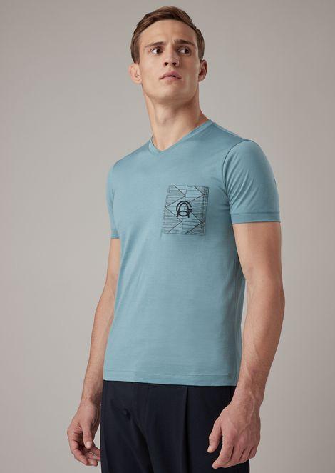 T-Shirt aus Jersey mit geometrischer Applikation mit gestanztem und thermoverschweißtem Logo