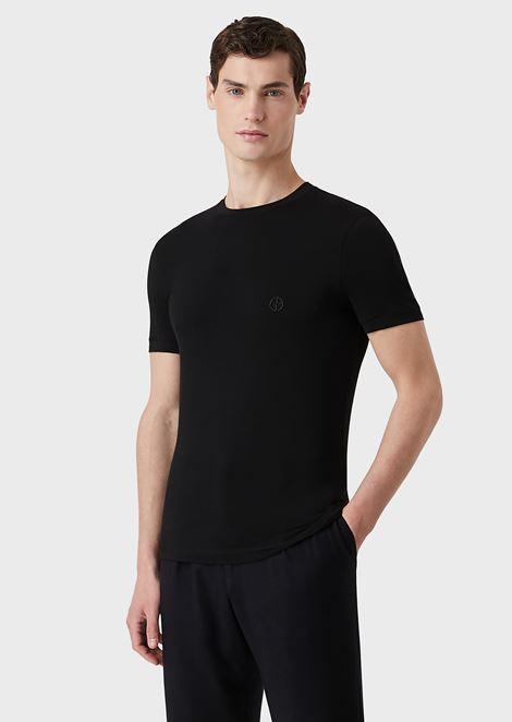 T-shirt en jersey de viscose stretch avec broderie GA