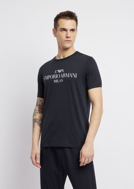 T-shirt in pima cotton with logo print