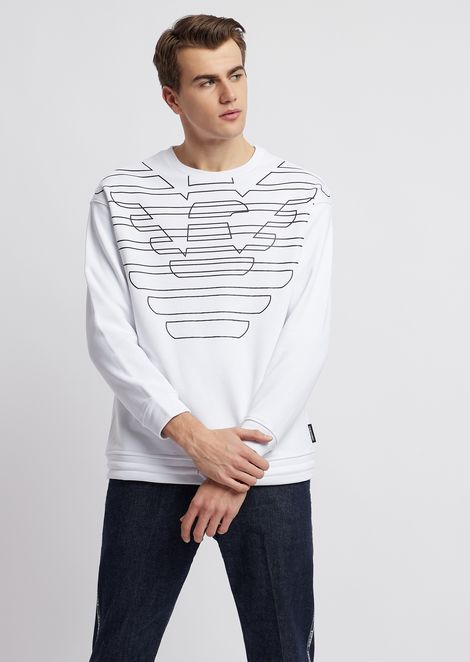 Cotton fleece sweatshirt with logo print and drawstring at the hem