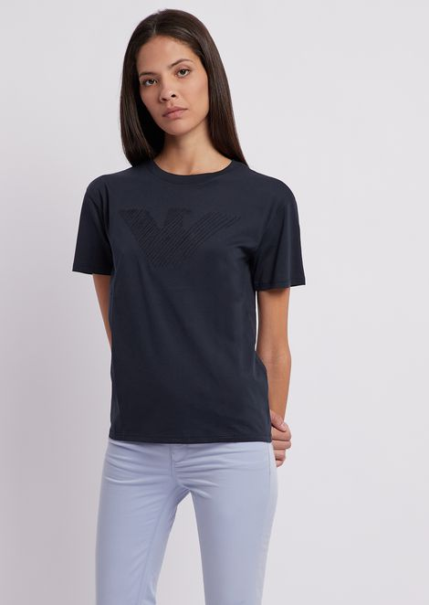 T-shirt in jersey Pima cotton with tone-on-tone, embroidered eagle
