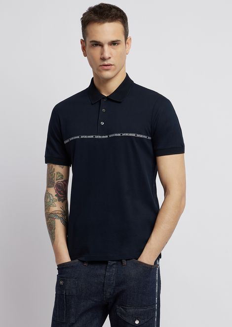 Lyocell and cotton piqué polo shirt with logoed piping strip