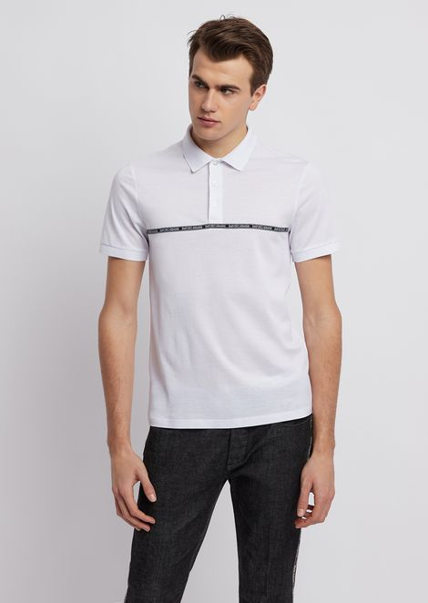 2375db7eb Lyocell and cotton piqué polo shirt with logoed piping strip