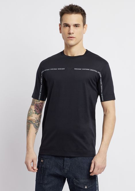 T-shirt in mercerized cotton with logoed piping strip