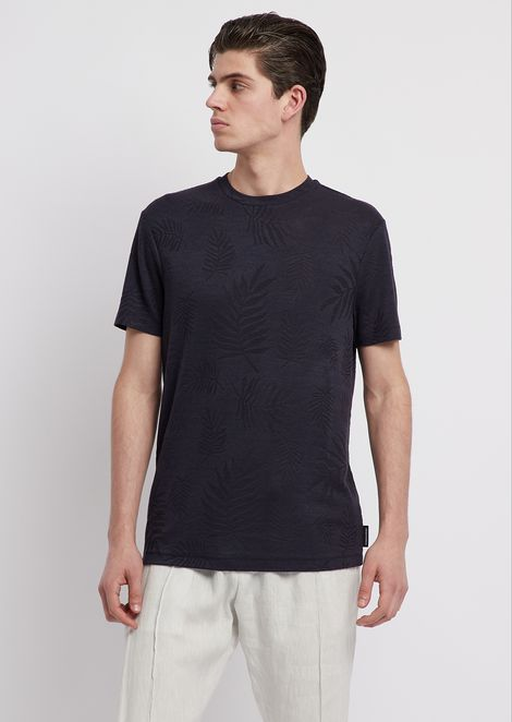 T-shirt in viscose jersey with jacquard motif