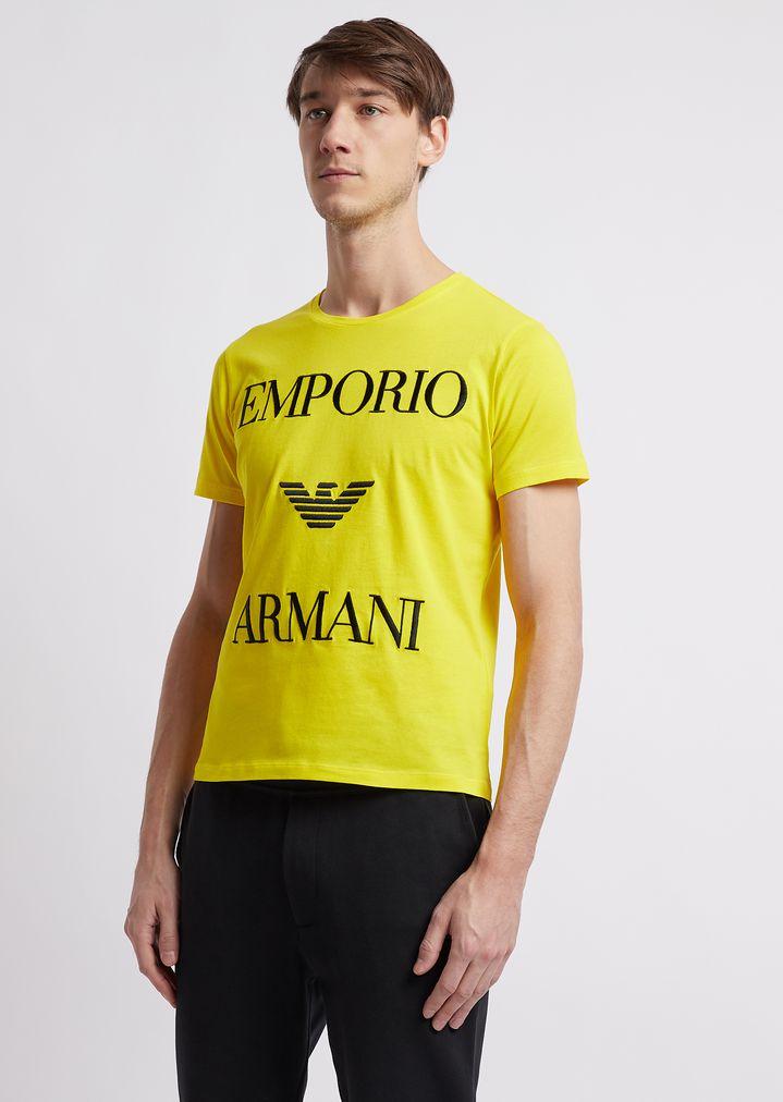 7efa9b57 Lightweight cotton jersey T-shirt with logo | Man | Emporio Armani