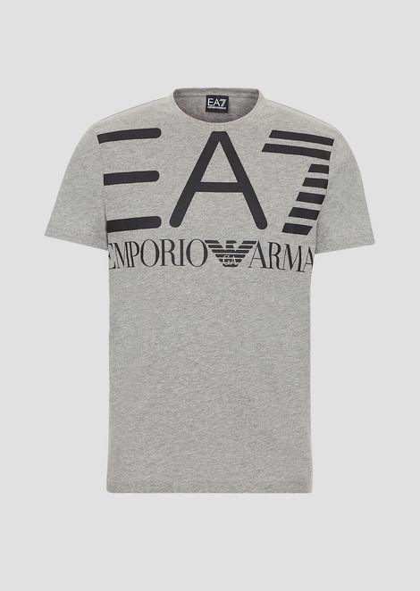 Cotton T-shirt with EA7 maxi logo print