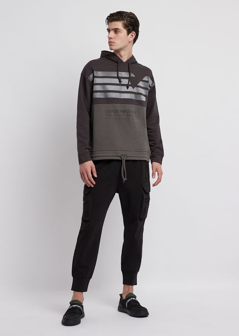 Zweifarbiges Sweatshirt aus Fleece-Baumwolle mit Logo-Print