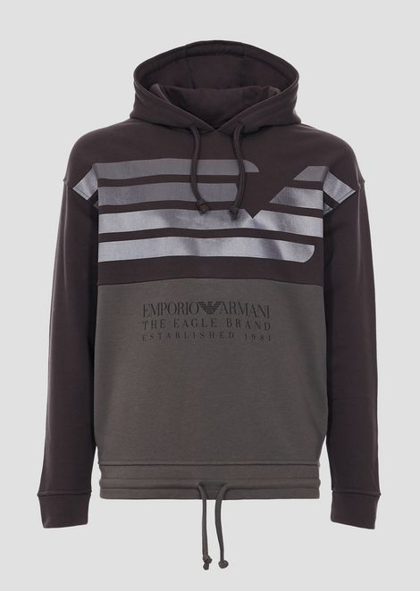 Sweatshirt in two-tone cotton fleece with logoed print