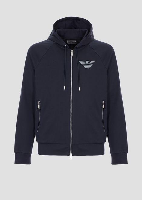 Cotton interlock sweatshirt with zip and logo