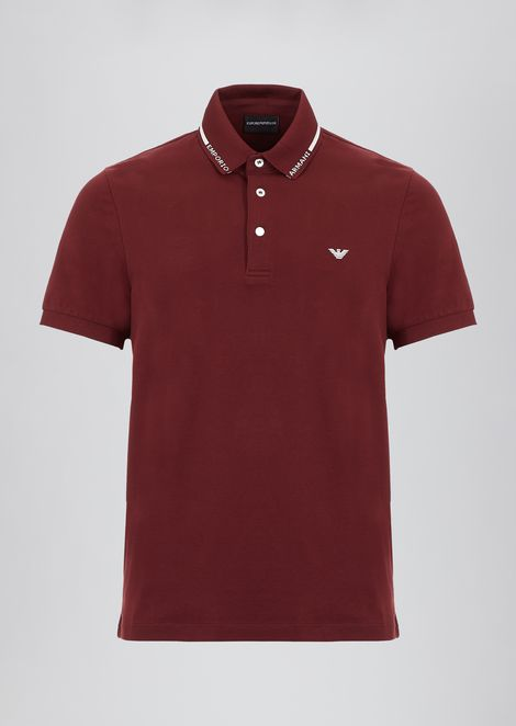 Stretch cotton piqué polo shirt