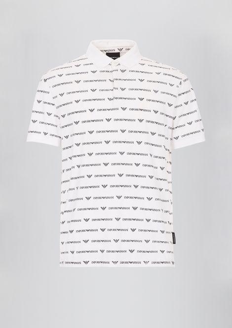 Polo de punto de algodón con logotipo por todo el tejido