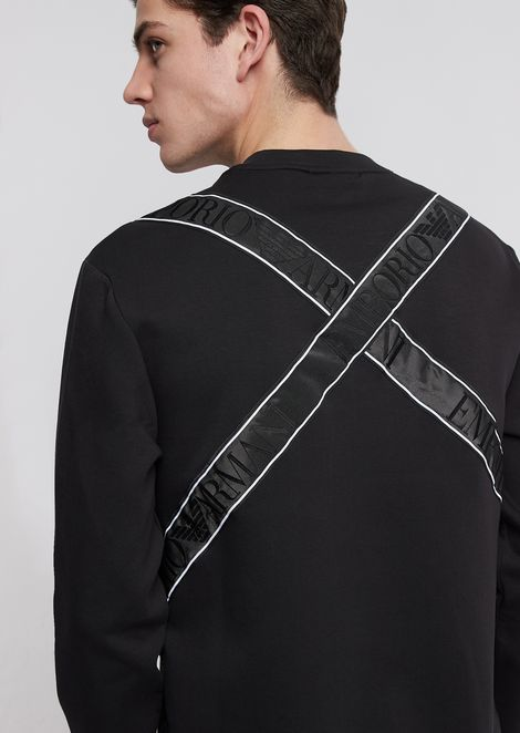 Sweatshirt in ultralight scuba fabric with logo taping on the back