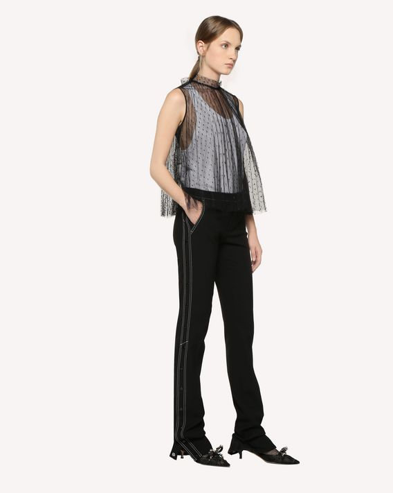 REDValentino Pleated Point d'Esprit Tulle top
