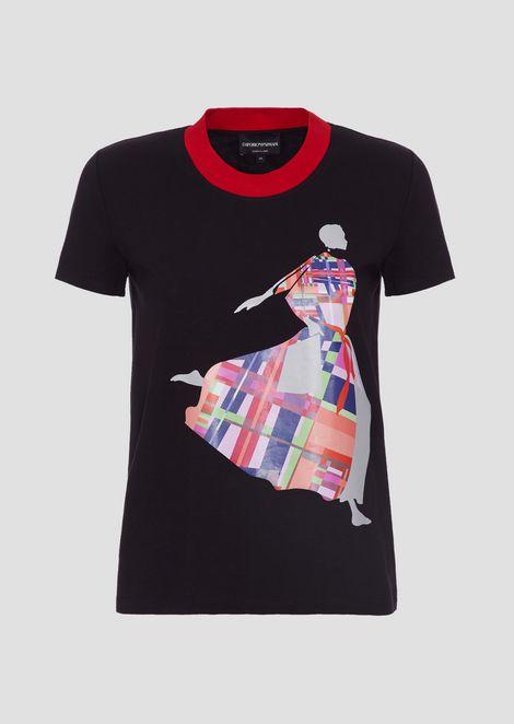 Tシャツ ジャージー製 カラープリント&コントラストの襟