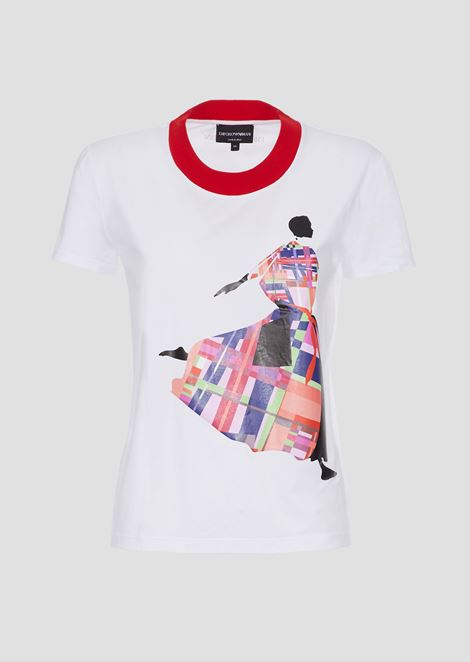T-shirt in jersey with coloured print and contrast collar