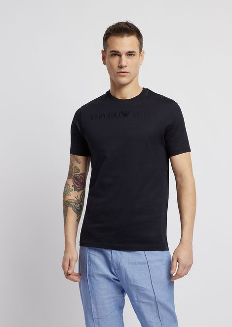 Mercerized cotton slim-fit T-shirt with jacquard logo