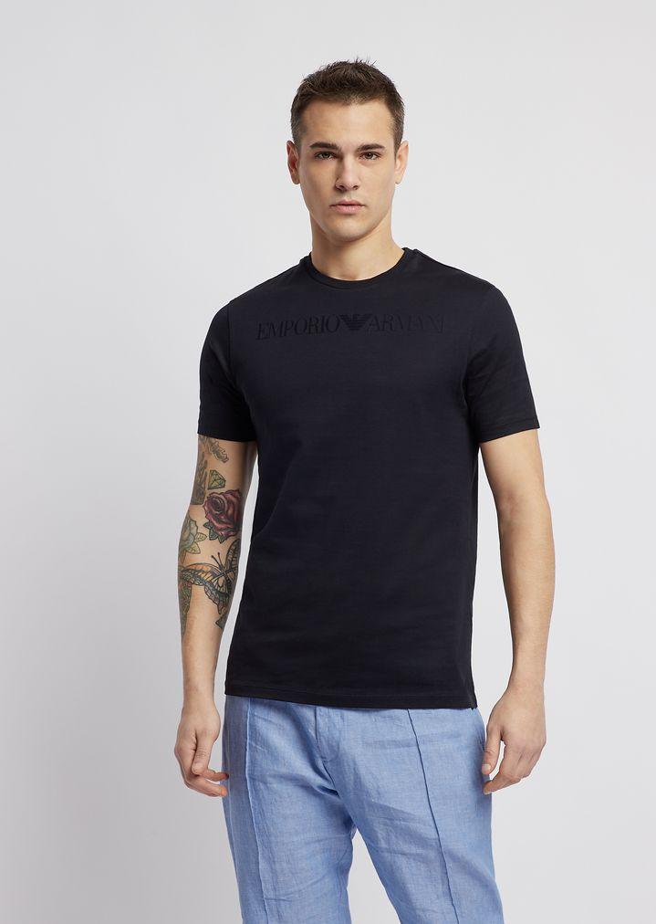 49fca54cca Mercerized cotton slim-fit T-shirt with jacquard logo