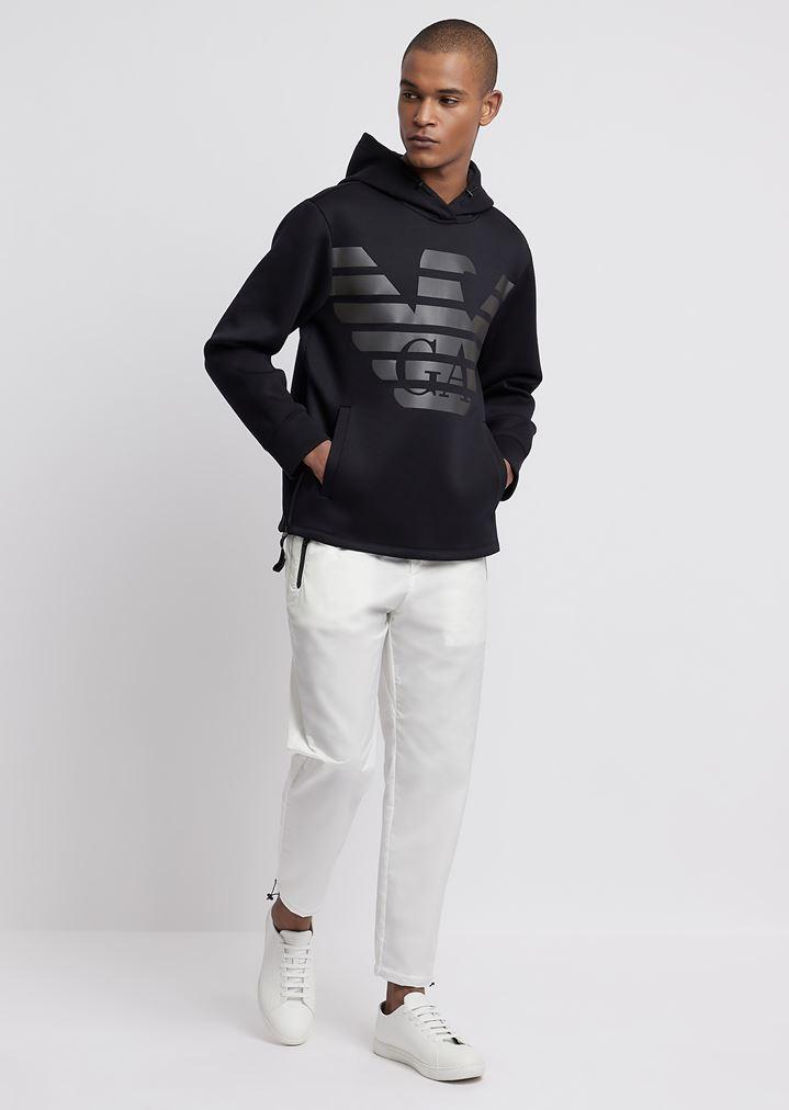 cc51f76c06 R-EA-MIX sweatshirt in lightweight scuba fabric with hood