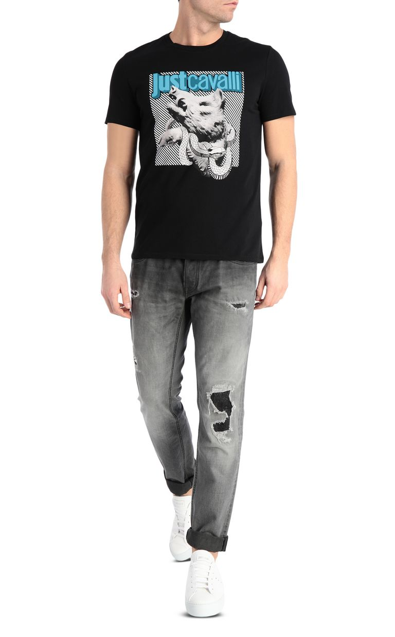 JUST CAVALLI T-shirt with boar print Short sleeve t-shirt Man d