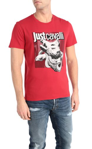 JUST CAVALLI Short sleeve t-shirt [*** pickupInStoreShippingNotGuaranteed_info ***] T-shirt with python print design f