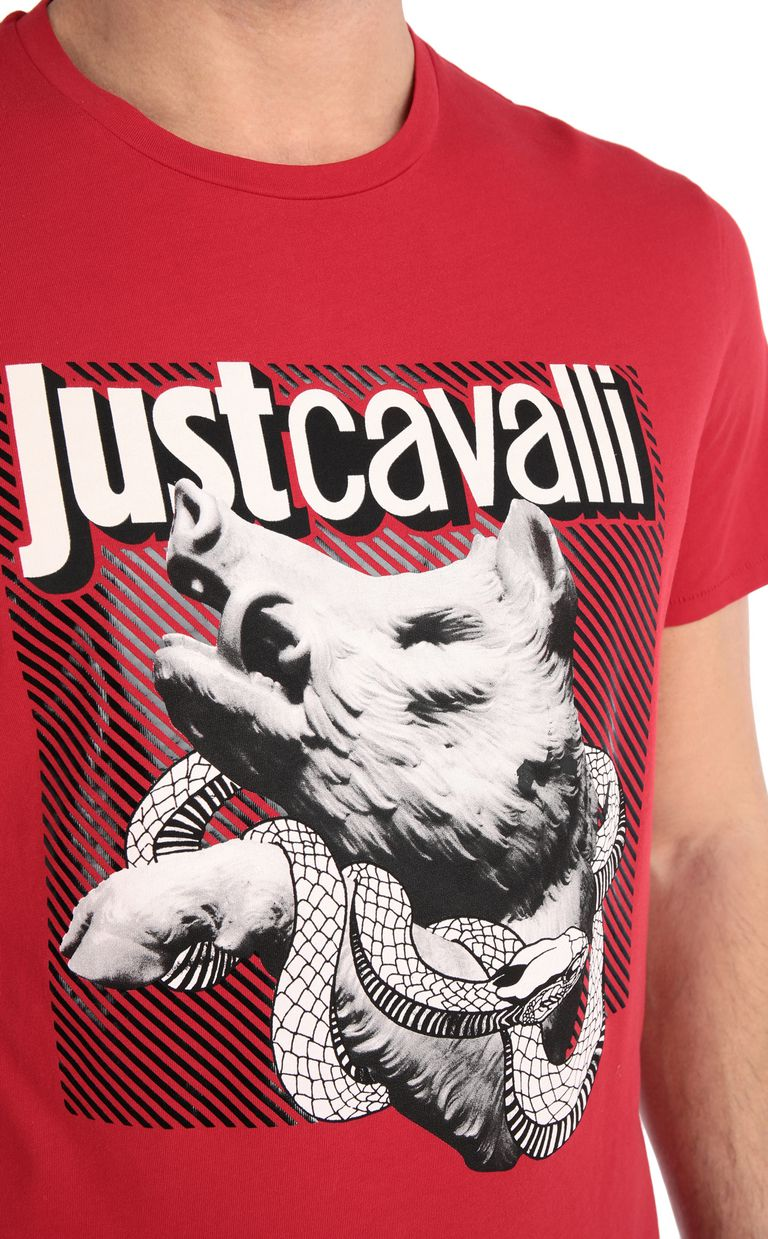 JUST CAVALLI T-shirt with boar print Short sleeve t-shirt [*** pickupInStoreShippingNotGuaranteed_info ***] e