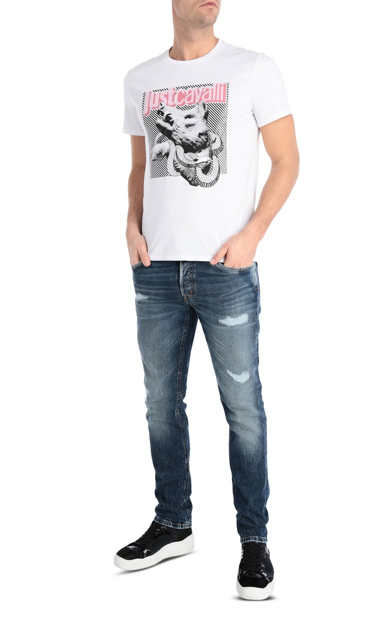 JUST CAVALLI T-shirt with boar print Short sleeve t-shirt Man d