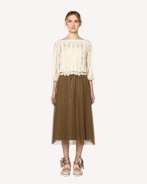 REDValentino Tulle and macramé ribbon top