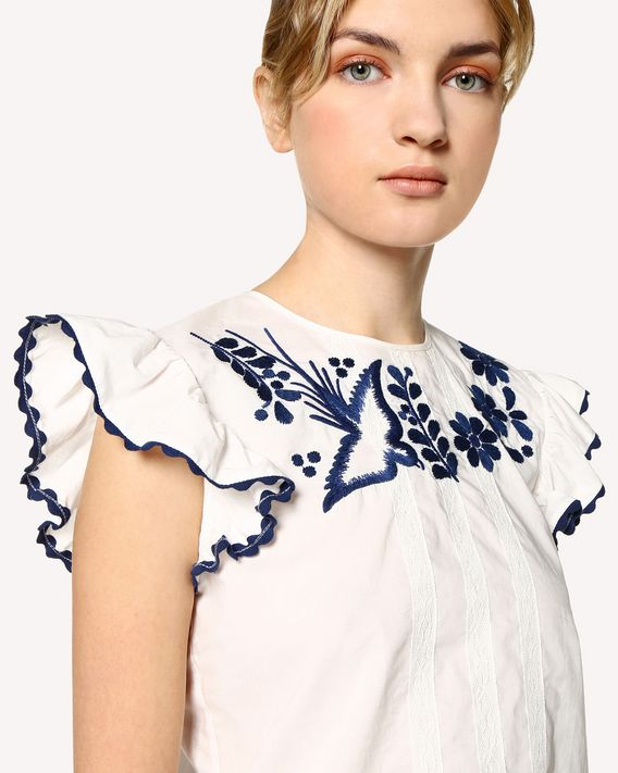 REDValentino Decorated Terrace embroidered cotton poplin top