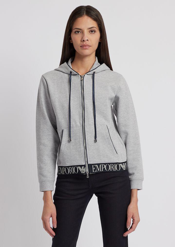 613051eec1 Hooded sweatshirt with logoed band on the hem
