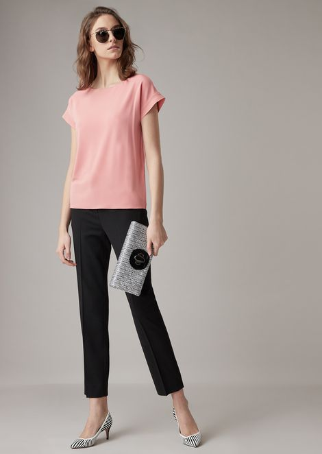 Stretch viscose interlock blouse with satin trim