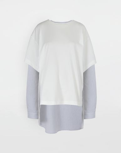 MM6 MAISON MARGIELA Long sleeve t-shirt [*** pickupInStoreShipping_info ***] Combo striped poplin jersey shirt f