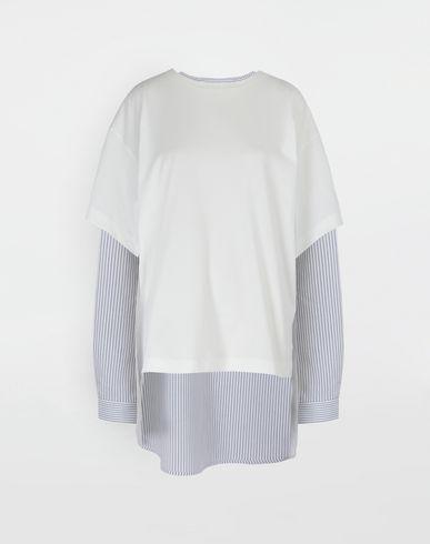 MM6 MAISON MARGIELA T-shirt manches longues [*** pickupInStoreShipping_info ***] Chemise combo en jersey et popeline rayée f