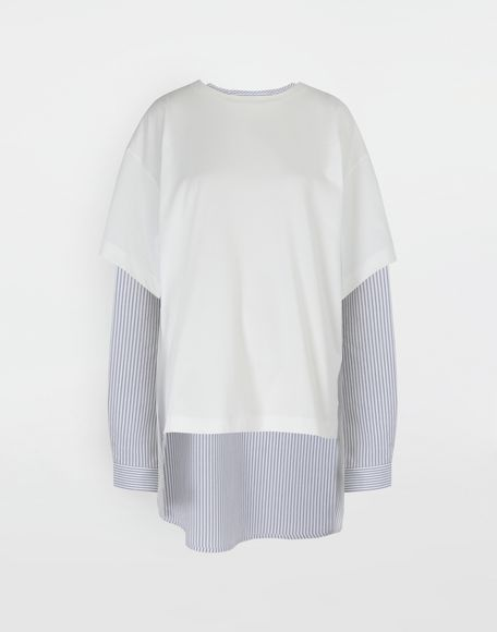 MM6 MAISON MARGIELA Combo striped poplin jersey shirt Long sleeve t-shirt Woman f