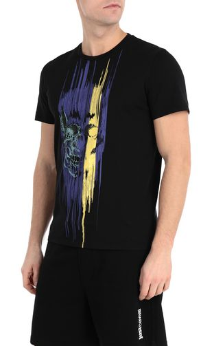 JUST CAVALLI Short sleeve t-shirt [*** pickupInStoreShippingNotGuaranteed_info ***] Blue t-shirt with logo print f