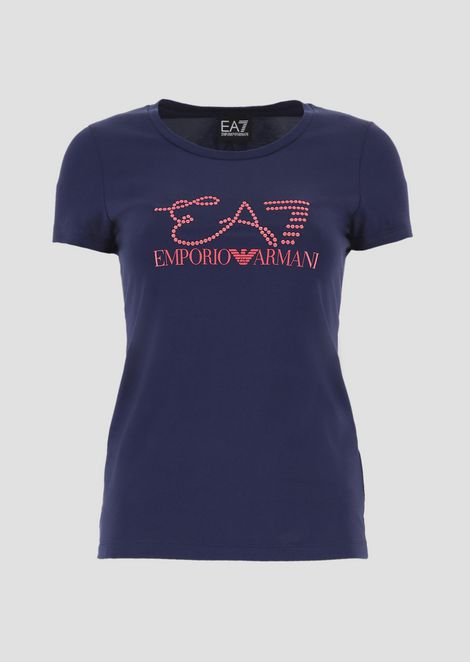 Stretch cotton T-shirt with embroidered logo