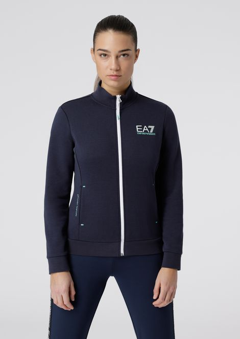 Zipped sweatshirt in breathable Natural Ventus7 technical fabric
