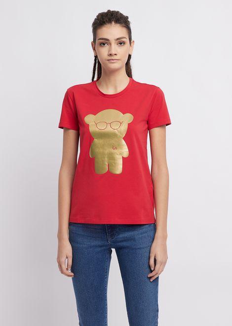 Tシャツ ジャージー製 マンガベア メタリックプリント