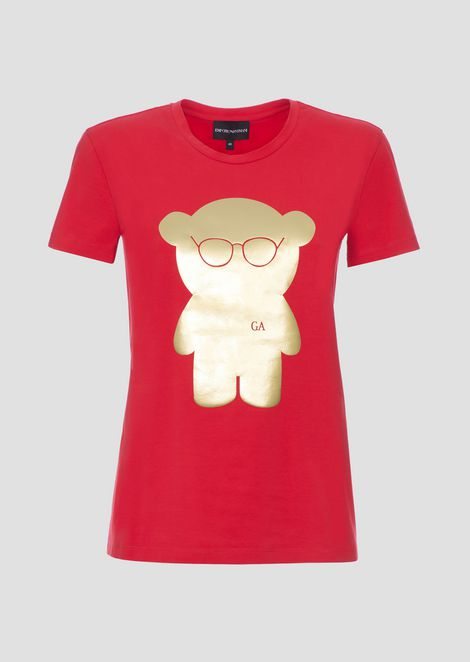 Manga Bear T-shirt in jersey with metallic print