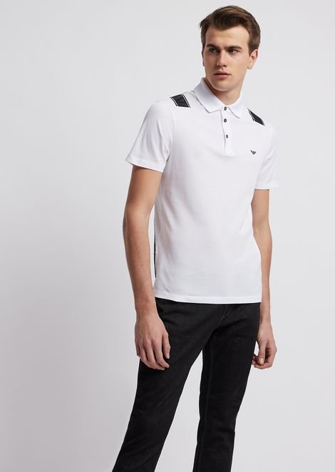 Lyocell cotton piqué polo shirt with logo bands on the back
