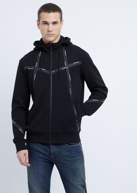 Stretch cotton hooded sweatshirt with zip and heat-sealed logo taping