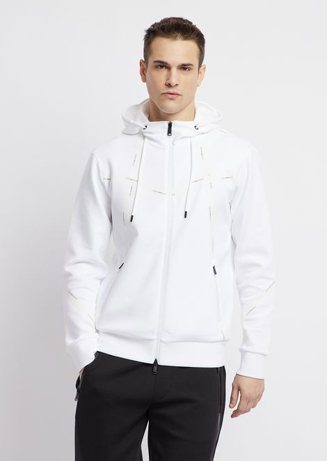 Stretch cotton hooded sweatshirt with zipper and heat-sealed logo taping