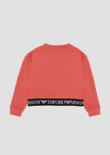 Cotton sweatshirt with logo band on the hem